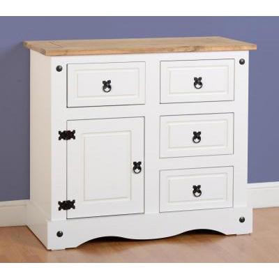 Choice Carpet & Furnishings, CORONA 1 DOOR 4 DRAWER SIDEBOARD WHITE
