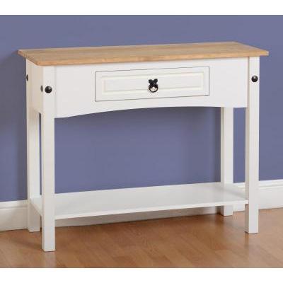 Choice Carpet & Furnishings, CORONA 1 DRAWER CONSOLE TABLE WITH SHELF WHITE
