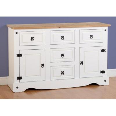Choice Carpet & Furnishings, CORONA 2 DOOR 5 DRAWER SIDEBOARD WHITE