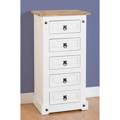 Choice Carpet & Furnishings, CORONA 5 DRAWER NARROW CHEST WHITE